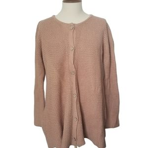 Beige Knitted Long Sleeve Button Down Cardigan